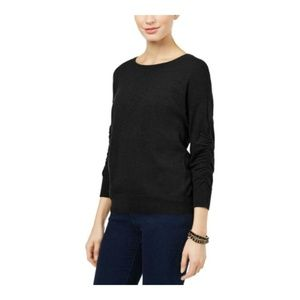 INC Womens Ruched 3/4 Sleeve Sweater Pullover